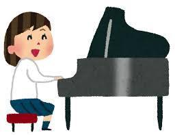 ピアノをひいているイラスト